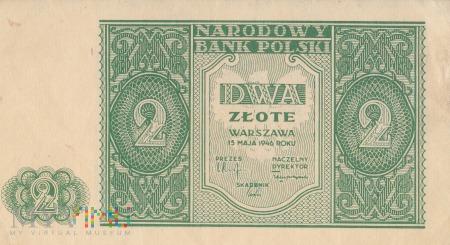 Duże zdjęcie Banknot 2 złote 1946 rok, Warszawa