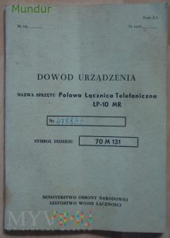 Dowód urządzenia: Polowa Łącznica Telefon ŁP-10-MR