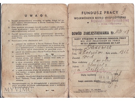 Legitymacja bezrobotnego z 1938.
