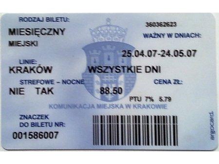 Bilet MPK Kraków 78