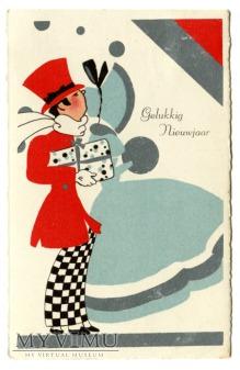 1935 Nowy Rok po holendersku Art Deco pocztówka