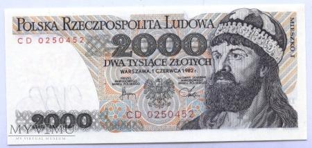 2000 złotych - 1982.