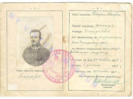 Porucznik Felicjan Serafin - legitymacja służbowa
