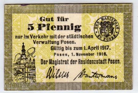 Duże zdjęcie 01.11.1916 - 5 Pfennig - Poznań