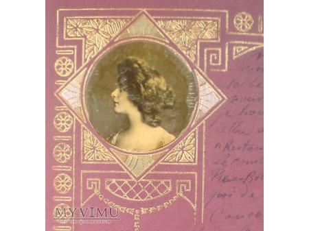 1903 SECESJA Głowa Kobiety pozłacana Art Nouveau