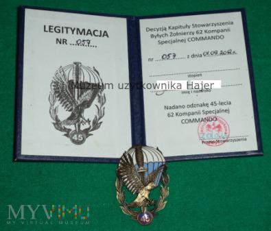 45 lat 62 ks Commando odznaka legitymacja nadanie