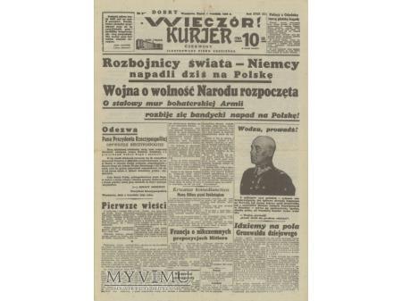 Wieczór Kurier 1 września 1939 rok.