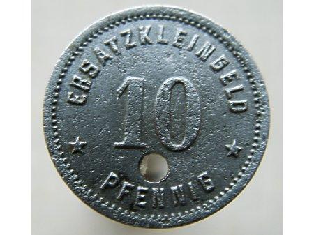 Moneta zastępcza 10 Pf Racibórz-kolejowa 1918