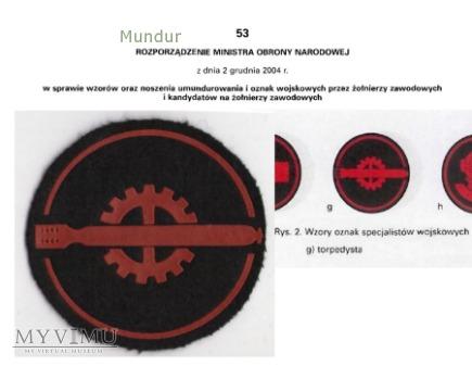 Oznaka specjalisty MW - torpedysta
