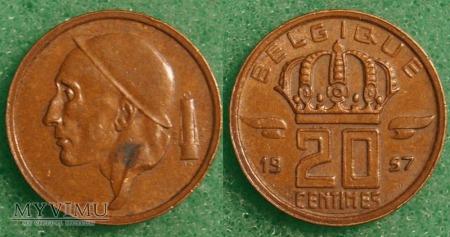 Belgia, 20 Centimes 1957