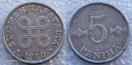 Finlandia, 5 PENNIÄ 1980
