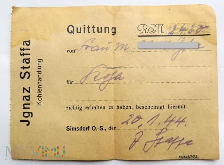 Quittung 1944 Kohlenhadlung Jgnaz Staffa Simsdorf