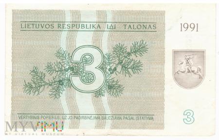 Litwa - 3 talony (1991)