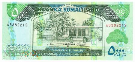 Somalia (Somaliland) - 5 000 szylingów (2011)