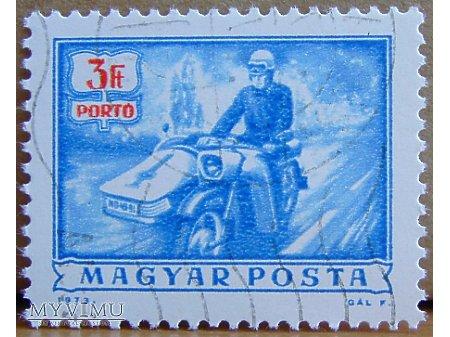 Duże zdjęcie Listonosz na motorze, znaczek węgierski