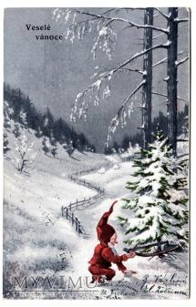 Krasnal leśny pocztówka świąteczna długi adres