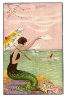 Syrena i parasolka Sofia Chiostri Mermaid Postcard