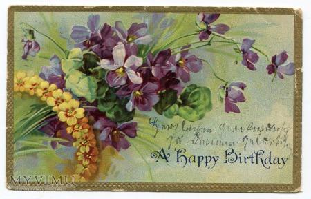 1910 Niezapominajki Życzenia Urodzinowe z USA