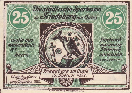 Duże zdjęcie Notgeld Friedeberg am Queis 25 Pfg.