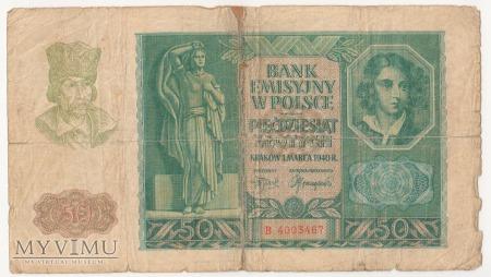 50 złotych 1 marca 1940 rok seria B
