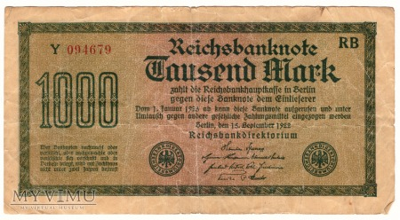 Niemcy, 1000 marek 1922r. Ser.Y