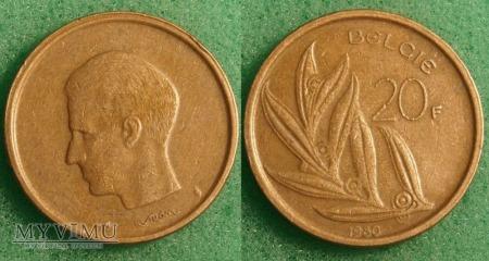 Belgia, 20 Francs 1980