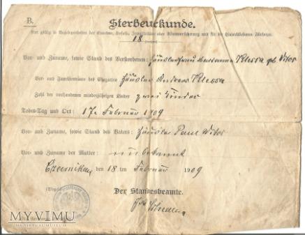akt zgonu sterbeurkunde 1909