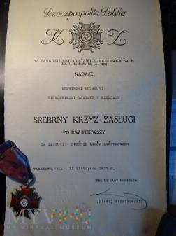 Dyplom Krzyża Zasługi - II RP