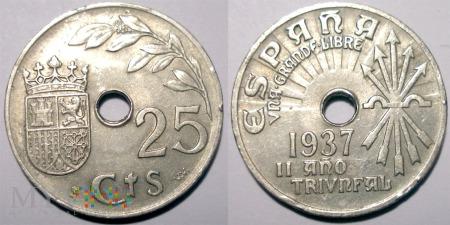 Hiszpania, 25 centimos 1937