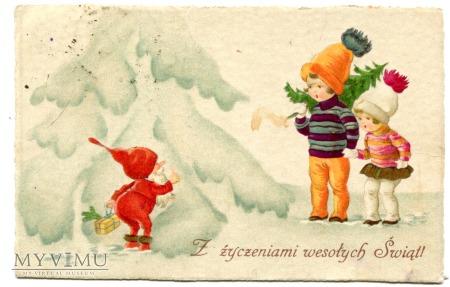 1930 Krasnal pod choinką Święta Pocztówka