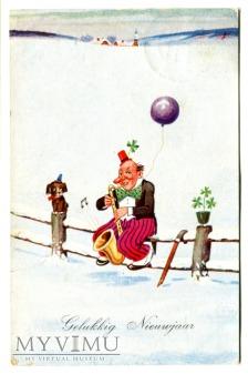 Duże zdjęcie 1933 Nowy Rok po holendersku balonik pocztówka