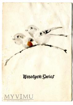 1968 WESOŁYCH ŚWIĄT Dwa ptaszki na drzewie