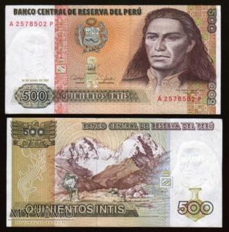 Duże zdjęcie Peru - P 134b - 500 Intis - 1987