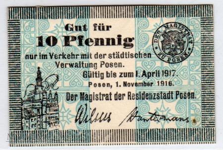 01.11.1916 - 10 Pfennig - Poznań