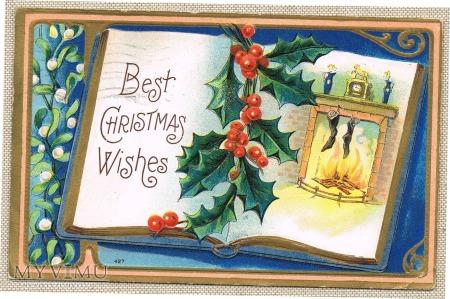 1909 Wesołych Świąt kominek zegar skarpety