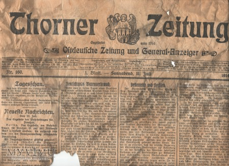 "Duże zdjęcie 19 ""Thorner Zeitung"" 11 lipiec 1914"