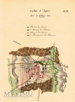 Duże zdjęcie Bitwa pod Iganiami - francuska mapa XIX wiek.