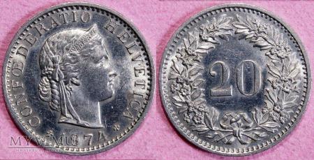 Szwajcaria, 20 Centów 1974