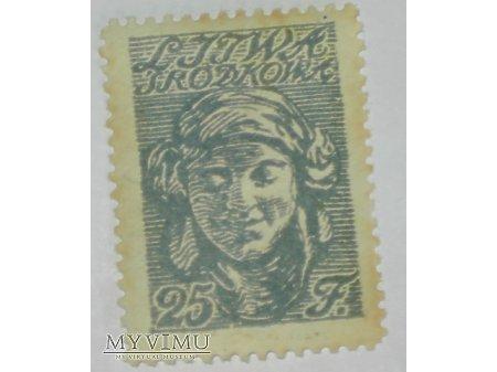 25 f znaczek z Litwy Środkowej