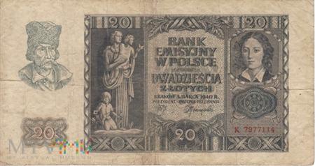 POLSKA GG 20 ZŁOTYCH 1940
