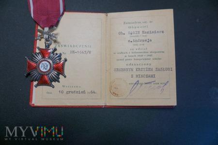 Legitymacja do Krzyża Zasługi z Mieczami