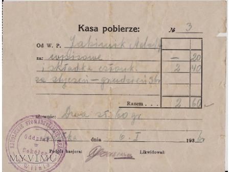 Pokwitowanie-Sokółka 1936.