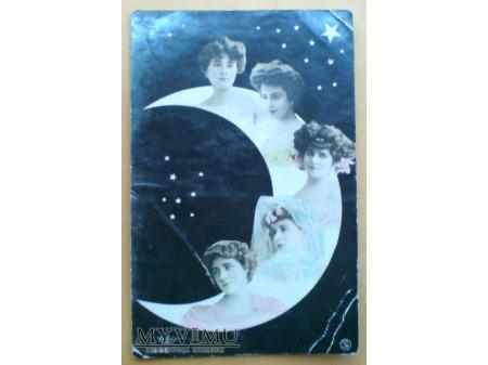 Fotomontaż z początku XX w. Kobiety na księżycu ;)