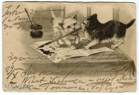 1903 Koty i kocie zabawy z atramentem