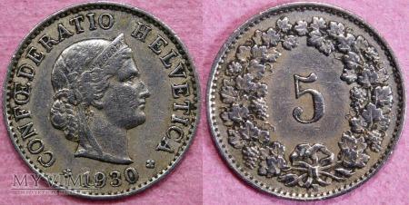 Szwajcaria, 5 Centimes 1930