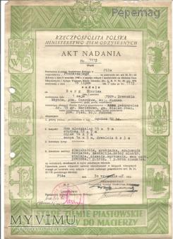 Akt nadania ziemi po wojnie 1947