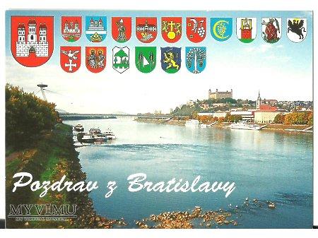 Duże zdjęcie Słowacka widokówka z herbami.
