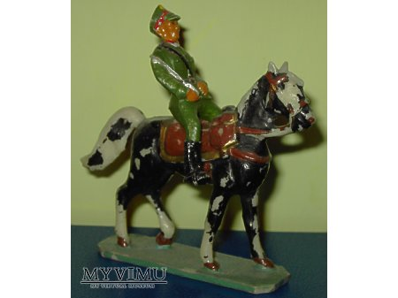 Duże zdjęcie Ułan na koniu.