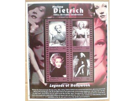 Duże zdjęcie Marlene Dietrich Antigua Barbuda 2000 Blok znaczki