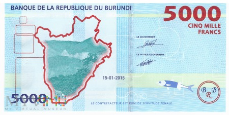 Burundi - 5 000 franków (2015)